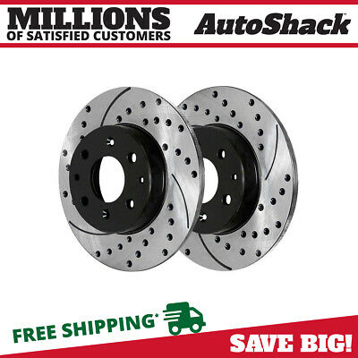 Rear Drilled Slotted Brake Rotors Pair (2) For 13-14 2015 2016 Dodge Dart 781087