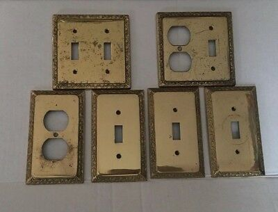 Vintage Ornate Brass Toggle Light Switch Wall Cover Plates Italy Set of 6