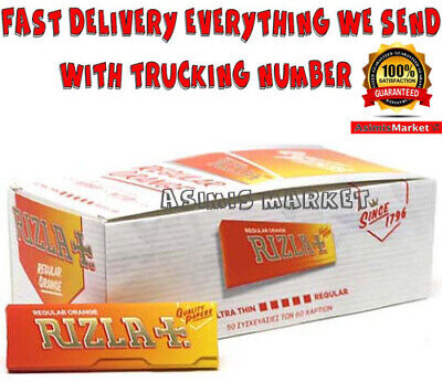 Rizla Orange FULL BOX 50 Booklets Smoking Roling Papers Regular size 60 Sheets