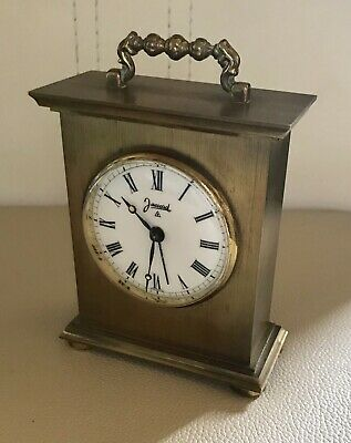 Vintage French Brass Jaccard 8 Day Alarm Hand-Winding Carriage Clock