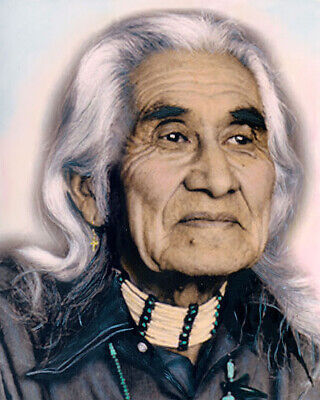 "CHIEF DAN GEORGE NATIVE AMERICAN INDIAN 8x10"" HAND COLOR TINTED PHOTOGRAPH"
