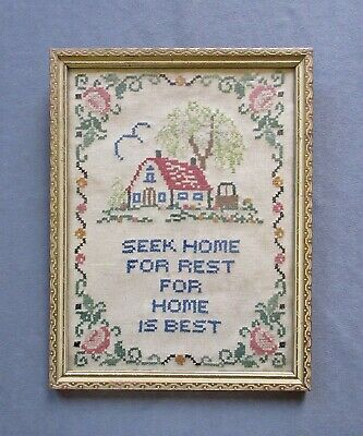 """Small Vintage Embroided Sampler """"Seek Home for Rest for Home is Best"""" Motto"""