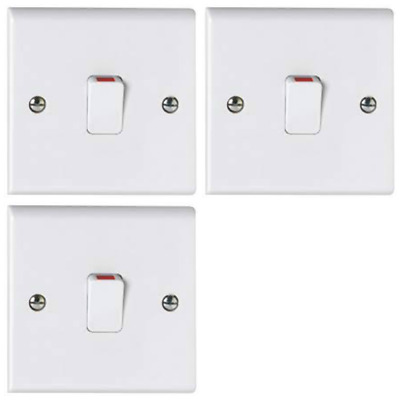 DETA S1301P 45A Double Pole Isolator Switch with neon Red Rocker