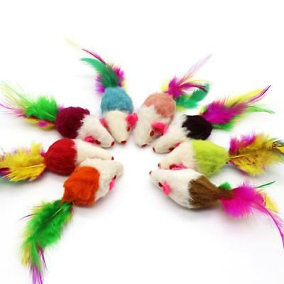 5Pcs/lot Funny Cat Toys Fleece False Mouse Colorful Feather Playing Toys YK