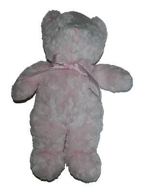 """Passport Plush Toys Pink Baby Teddy Bear Rattle Striped Bow 14"""" Lovey Soft"""