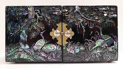 Vintage Mother Of Pearl Inlaid Paua Shell Japanese Lacquer Jewellery Box Case