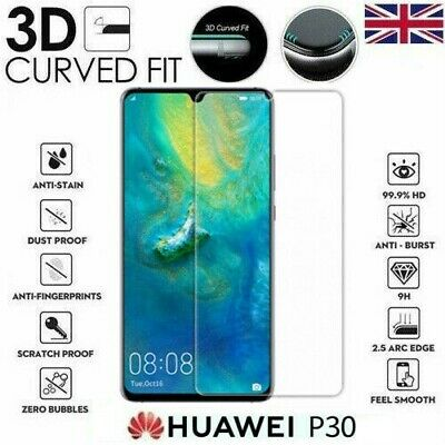 For Huawei P30 (ONLY) 3D Full Tempered Glass 9H Screen Protector Cover Clear