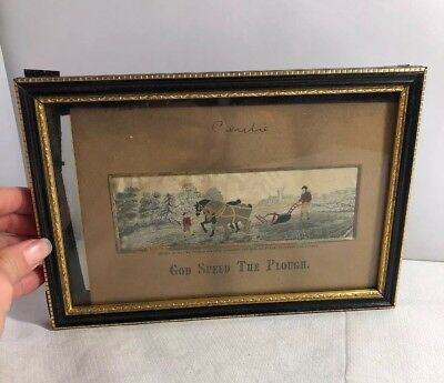 Antique Framed Woven Silk Picture Stevengraph God Speed the Plough