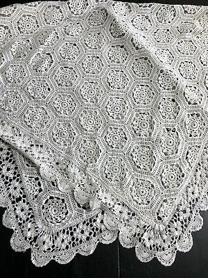 Vintage Pretty French Hand Crochet Tablecloth Tea Cloth