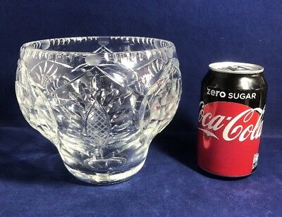 Vintage 1930s Heavy Cut Glass Crystal Flower Bowl