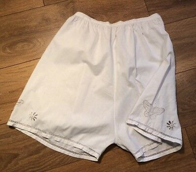 Vintage 1920s Handmade Ladies French Linen Knickers Butterfly Detail XS