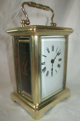 Antique French Brass Cased Carriage Clock c1890-1910 + Key (Working)