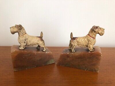 Vintage Art Deco Cold Painted Terrier Dog Bookends 1920s 1930s