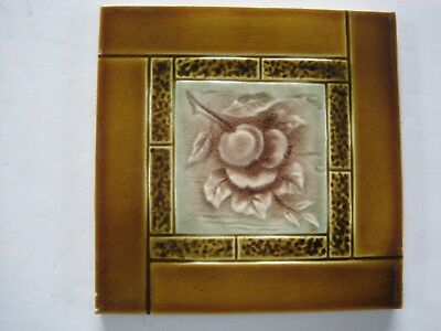 Antique J.h.barratt Majolica Glazed Moulded Fruit Wall Tile - C1900 -1925