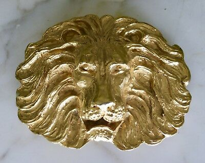 "RAREST MIMI DI N SIGNED MASSIVE LION's HEAD 6"" GOLD METAL BELT BUCKLE VINTAGE"