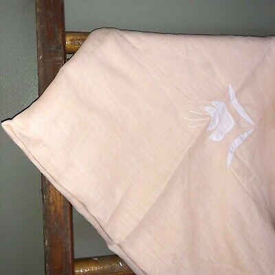 """Lovely Vintage Cotton Pale Peach Linen Hand Floral Stiched 33""""Square Tablecloth"""