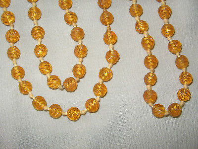 Antique Art Deco 66 inch glass yellow flapper long necklace