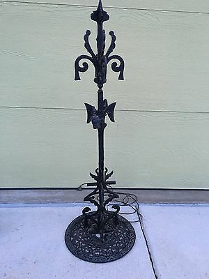 Antique Tall Hand Made Wrought Iron Ornate Lamp