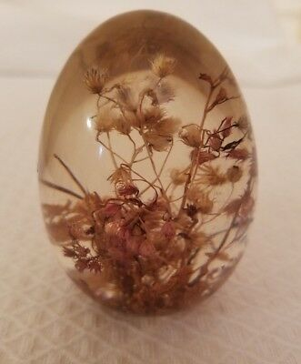 Vintage Lucite Acrylic Egg Paperweight with Dried Flowers
