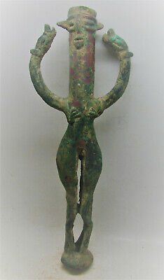 Scarce Circa 1500-1000Bc Ancient Phoenician Bronze Idol Male Figure & 2 Serpents
