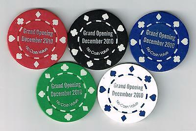 2010 Ho - Chuck Casino Grand Opening Poker Room Chips ( 5 ) Madison, Wi.