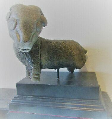 Scarce Ancient Persian Stone Ram Statuette, Mounted, Restoration