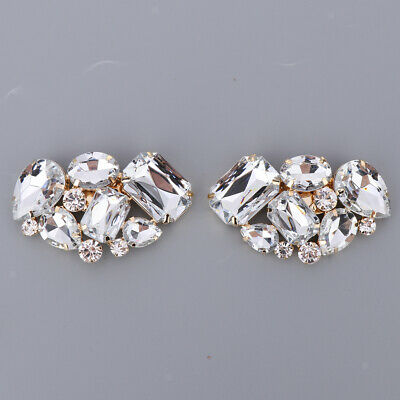 2x Diamante Shoe Buckle Removable High-Heel Shoe Clips Charms Bridal Wedding
