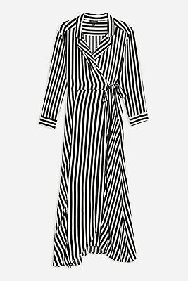 Ex Topshop Black White Stripe Shirt Maxi Dress Size 6-18 RRP £49 REGULAR /PETITE