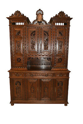 Large Antique French Breton Cabinet, Turn of the Century, Oak