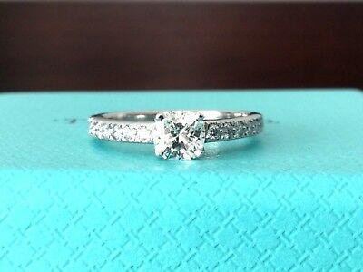 20bfbc56b TIFFANY & CO PLATINUM NOVO DIAMOND ENGAGEMENT RING .56 CT I VVS2 $5k Retail