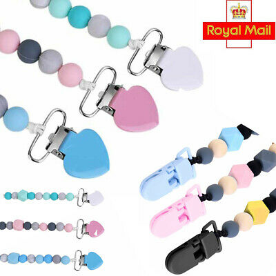 Infant Nipple Strap Silicone Baby Teething Soother Pacifier Chain Dummy Clips UK