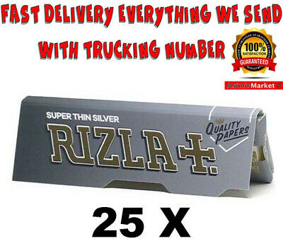 Rizla Silver Rolling Papers 25 Booklets Super Thin Standard Regular Size
