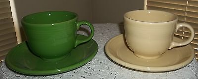Lot 2 Fiesta Ware One Green Cup & Saucer,One Cream White, Cup & Saucer