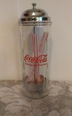 Vtg 1992/ Retro Coca-Cola Glass/Metal Straw Dispenser / Looks New