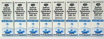 Akorn Sodium Chloride Ophthalmic Eye Ointment 5% 3.5gm -8 Pack - Exp 05-2021