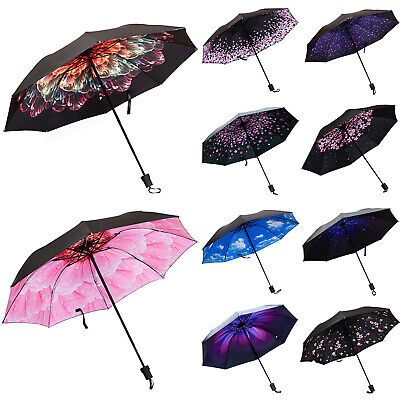 Womens Sun Rain Folding Umbrella Windproof Waterproof Sun UV Protection Travel