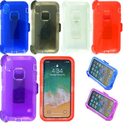 For Apple iPhone XR Clear Case Cover (Belt Clip Holster Fits Otterbox Defender)