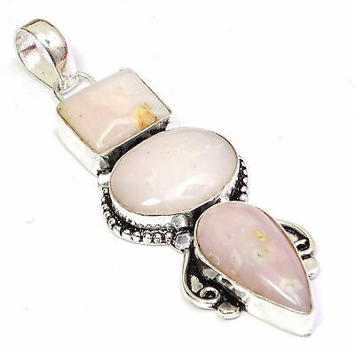 """Natural White Agate Gemstone Fantastic Silver Plated Pendant Jewelry 1.5"""" vk104"""