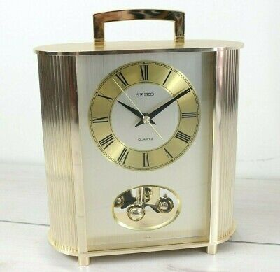 Vintage Seiko Carriage Anniversary Quartz Mantle Clock Brass Japan Tested Works