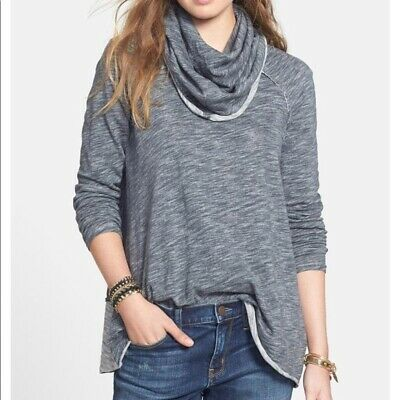 be96660f67 $88 FREE PEOPLE BEACH Gray Oversized Cocoon Cowl Neck Pullover Tunic Top  One Sz