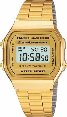MEN'S GOLD TONE STAINLESS STEEL DIGITAL WATCH A168WG ORIGINAL 2019 Reloj Lujo US