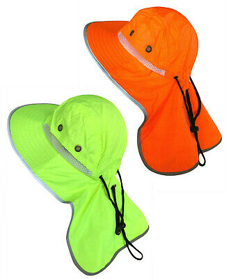 2PC Men High Visibility Reflective Safety Neck Flap Wide Brim Sun Hat Bucket Cap