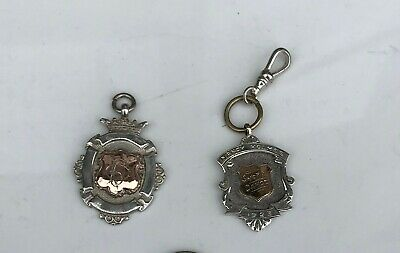 Lot / Pair English Antique Sterling Silver / Silver Medals / Watch Fob