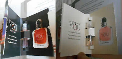 ARMANI 2 echantillons sample parfum perfume IN LOVE WITH YOU + STRONGER WITH YOU