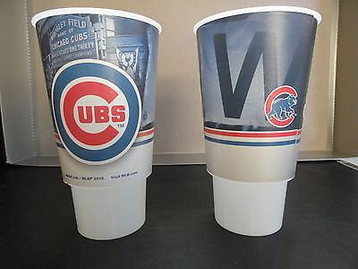 """Chicago Cubs Wrigley Field 2017 """"W"""" Souvenir Cups, Lot of 2"""