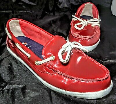 adc2d6bd85f Cole Haan Boat Shoes Womens Size 8B Red Patent Leather Loafers White Shiny  EUC
