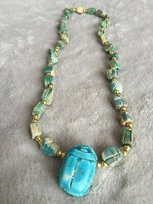 Vintage turquoise tone Scarab Beetle Necklace Carved Clay Beads EGYPTIAN REVIVAL