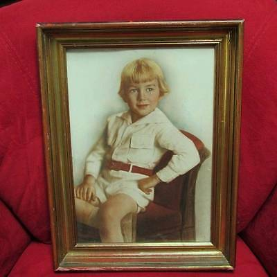 ANTIQUE vtg WOOD gold gilt PICTURE FRAME hp tinted PORTRAIT photograph BLOND BOY