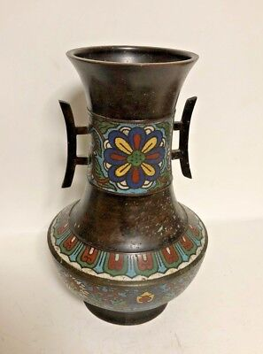 Antique Old Asian Cloisonne Enamel Handled Vase Bronze Brass Chinese Oriental!!!