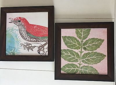 "Wood Framed Set of 2 Bird & Leaves Picture Prints Pair Set  14 3/4"" x 14 3/4"""